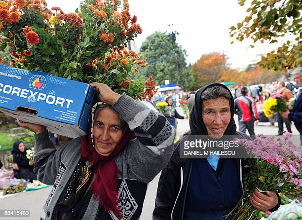 Romanian peasant women sell flowers next to the Romanian Orthodox Patriarchy as thousands of believers came to worship the Holy Relics of St. Pavel...