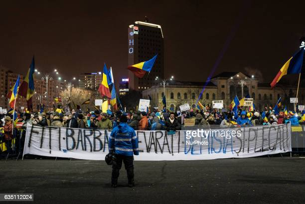 Romanian people continue to protest against the government demanding for its resignation in Bucharest Victory Square on February 12 2017 in Bucharest...