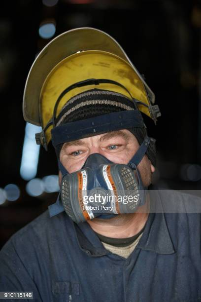 Romanian plater working on the decommissioned ship the Lismore in Leith's Imperial Dry Dock on January 25 2018 in Leith Scotland The Scottish...