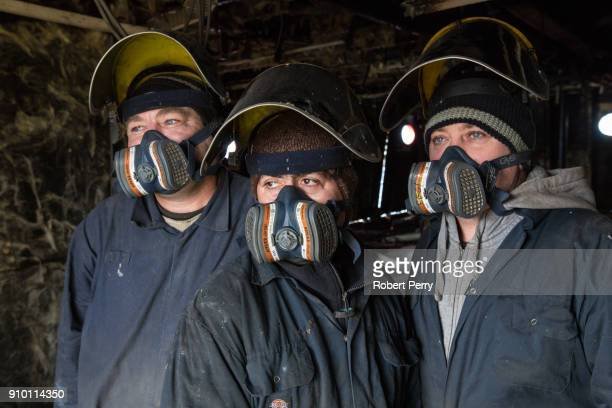 Romanian platers working on the decommissioned ship the Lismore in Leith's Imperial Dry Dock on January 25 2018 in Leith Scotland The Scottish...