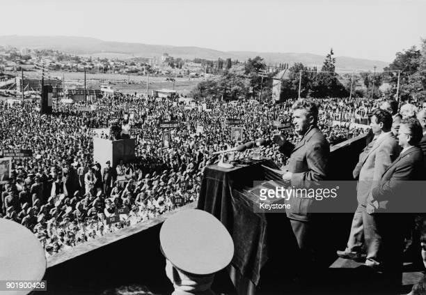 Romanian President Nicolae Ceausescu addresses a civic rally in Sfantu Gheorghe Romania circa 1975