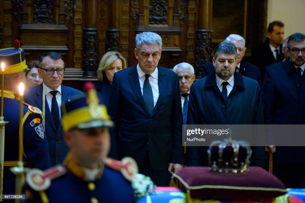 Romanian Prime Minister Mihai Tudose during the funeral of King Michael I of Romania at Castle Peles (150 km from Bucharest - The Peles Castle is summer residence of Romanian King) on December 13, 2017. A ceremony was held at the airport in the presence of the five daughters of the former king, representatives of the Romanian authorities and senior Orthodox prelates. The remains of Michel from Romania, who died on December 05, 2017 in Switzerland at the age of 96.