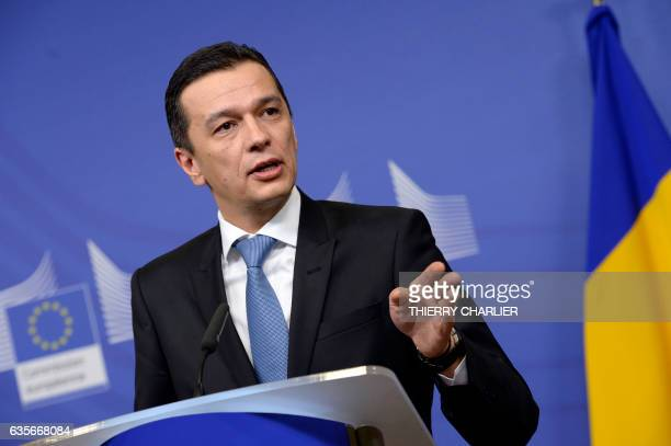 Romanian Prime Minister Sorin Grindeanu speaks during a joint press conference with European Union Commission First VicePresident following a meeting...
