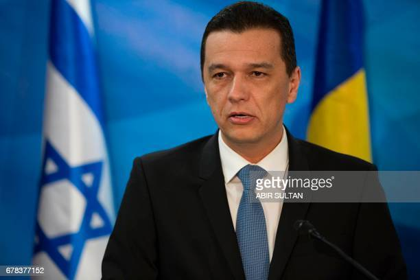Romanian Prime Minister Sorin Grindeanu speaks during a joint press conference with his Israeli counterpart at the Prime Minister's Office in...