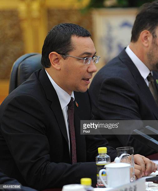 Romanian Prime Minister Victor Ponta attends a meeting with Chinese President Xi Jinping at the Great Hall of the People on September 1 2014 in...