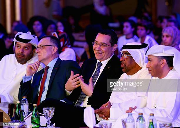 Romanian Prime Minister Victor Ponta attends the Third International Sports Conference for Women at Emirates Palace on May 5 2015 in Abu Dhabi United...
