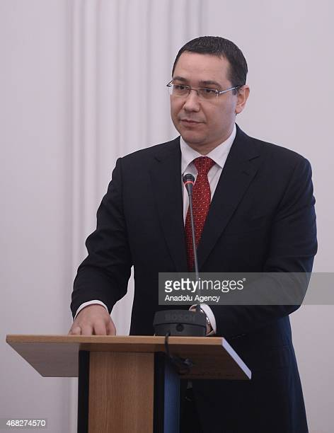 Romanian Prime Minister Victor Ponta delivers a speech during TurkeyRomania business forum at Romania chamber of industry and trade in Bucharest on...