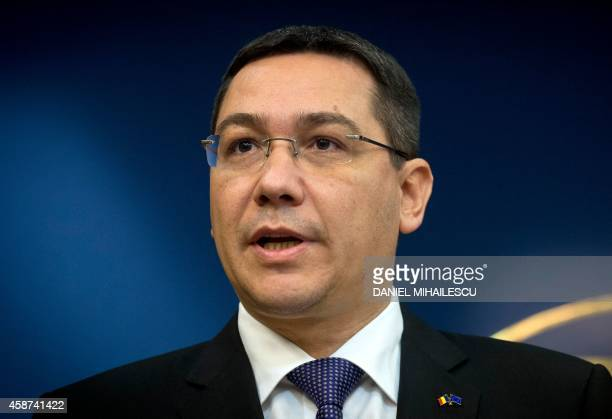Romanian Prime Minister Victor Ponta gives a press conference at the government headquarters in Bucharest on November 10 following the announcement...