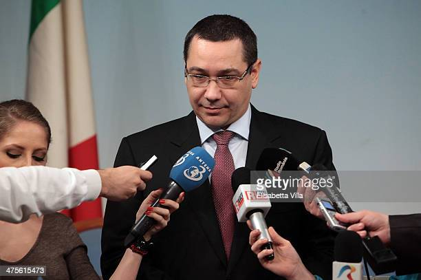 Romanian Prime Minister Victor Ponta talks with journalists after a meeting with Italian Prime Minister Matteo Renzi at Palazzo Chigi on February 28...