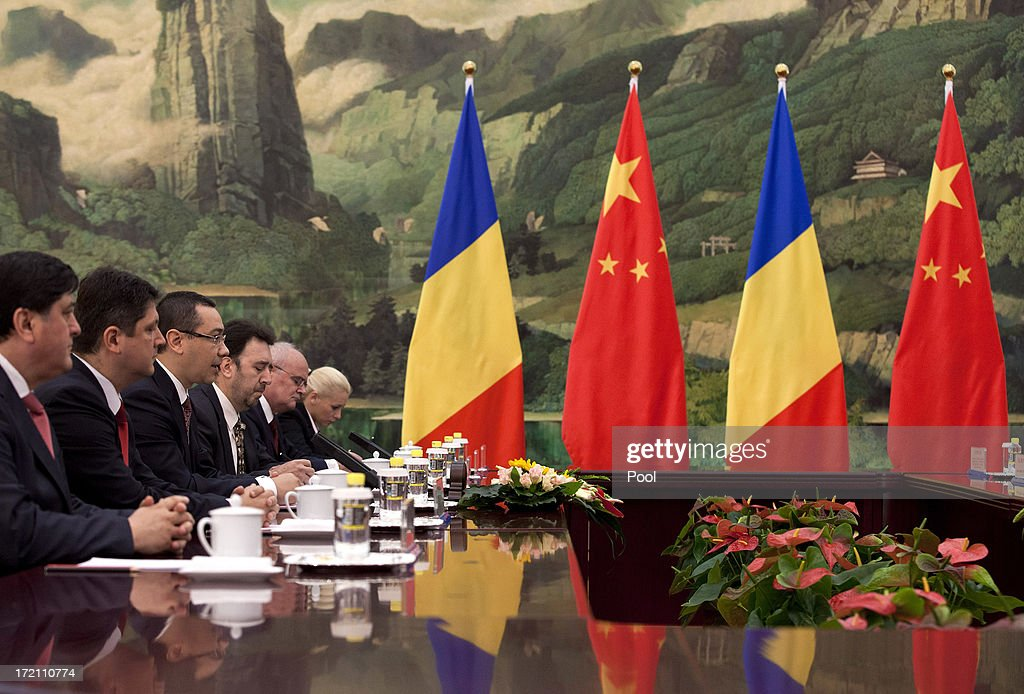 Romanian Prime Minister Victor-Viorel Ponta (3rd L) speaks during a meeting with Chinese President Xi Jinping at the Great Hall of the People on July 2, 2013 in Beijing, China. Victor-Viorel Ponta and Nikola Gruevski are in China to attend a conference with local leaders and central and east European countires from July 2 to 4.