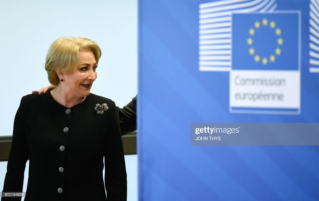 Romanian Prime Minister Viorica Dancila arrives for a bilateral meeting with the EU Commission president at the EU headquarters in Brussels on February 21, 2018. /