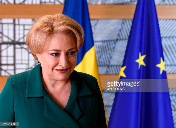 Romanian Prime Minister Viorica Dancila arrives to attend a meeting with the President of Council at the EU headquarters in Brussels on January 20...