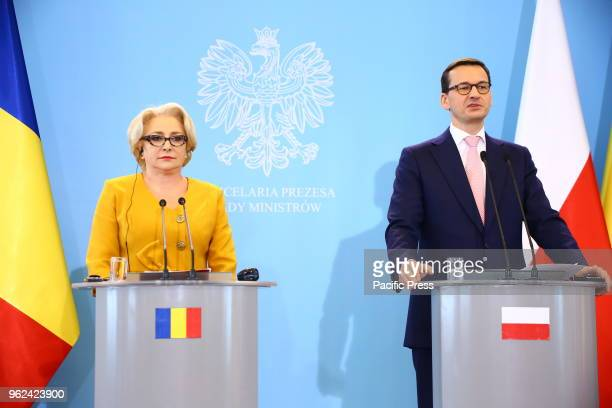 Romanian Prime Minister Viorica Dancila held joint press conference with Polish Prime Minister Mateusz Morawiecki after governmental consultation in...