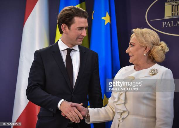 Romanian Prime Minister Viorica Dancila welcomes Austrian Chancellor Sebastian Kurz in Bucharest December 21 2018