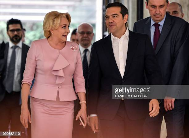 Romanian Prime Minister Viorica Dancila welcomes Greek Prime Minister Alexis Tsipras as he arrives at the Victoria Palace the Romanian Government...
