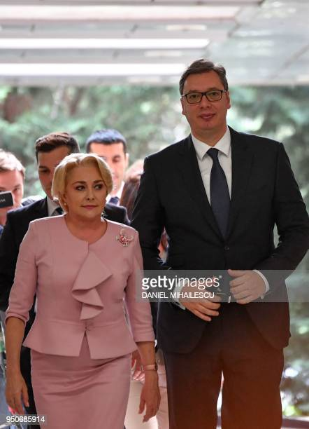 Romanian Prime Minister Viorica Dancila welcomes Serbian President Aleksandar Vucic as he arrives at the Victoria Palace the Romanian Government...