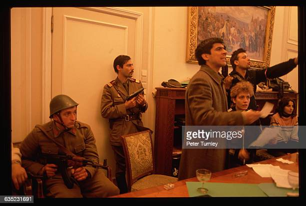 Romanian revolutionaries occupy Nicolae Ceausescu's own office in December 1989 following his failed attempt to flee the country Their attention is...