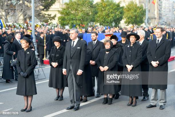 Romanian Royal Family outside the former Royal Palace in Bucharest on December 16 to attend a military and religious ceremony on the occasion of the...