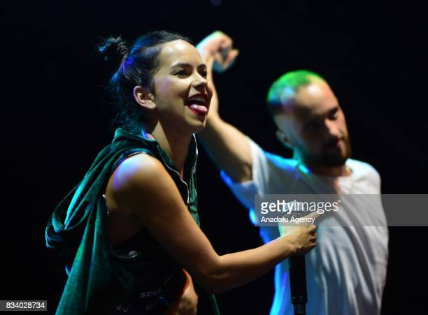 Romanian singer Inna performs during Troy Air Fest organised by Umurbey Municipality and Visual Publicity Foundation in Umurbey town Lapseki district...