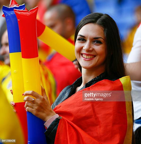 Romanian supporters enjoy the atmosphere prior to the UEFA EURO 2016 Group A match between Romania and Albania at Stade de Lyon on June 19 2016 in...