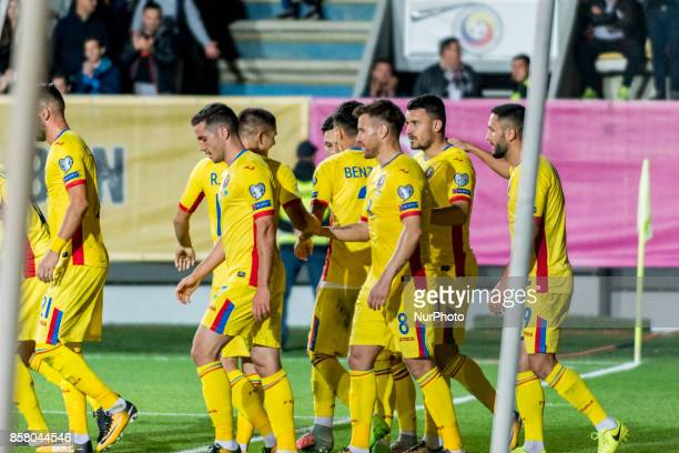 Romanian team players celebrating the first goal Alexandru Chipciu Mihai Pintilii Constantin Budescu Florin Andone during the World Cup qualifying...