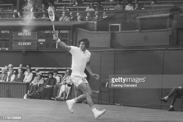Romanian tennis player Ilie Nastase in action against Cliff Richey of the United States in the second round of the Men's singles tournament at the...
