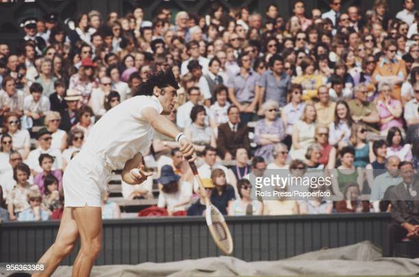 Romanian tennis player Ilie Nastase pictured in action against Manuel Orantes of Spain in the semifinals of the Men's Singles tournament at the...