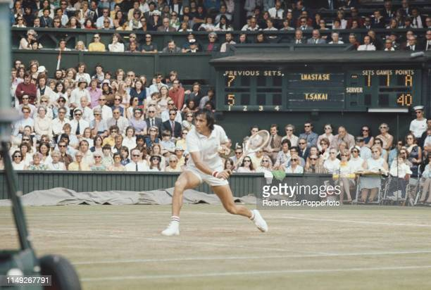 Romanian tennis player Ilie Nastase pictured in action against Toshiro Sakai of Japan in the third round of the Men's Singles tournament at the...