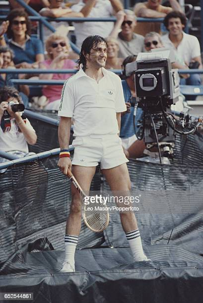 Romanian tennis player Ilie Nastase pictured in action during competition to reach the second round of the 1980 US Open Men's Singles tennis...