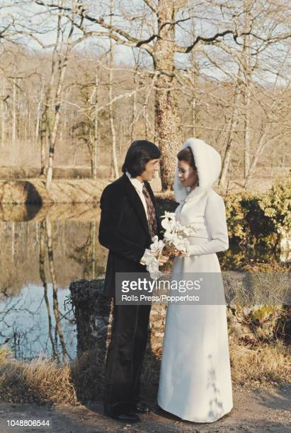 Romanian tennis player Ilie Nastase pictured with his wife Belgian model Dominique Grazia on the day of their wedding at BazochessurleBetz church in...