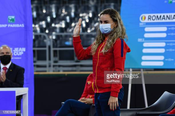 Romanian tennis player Irina Bara during the drawing lots for the Billie Jean King Cup Play-Offs match between Romania and Italy at Sala Polivalenta...