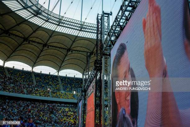 Romanian tennis player Simona Halep greets her Romanian fans on the National Stadium in Bucharest on June 11 2018
