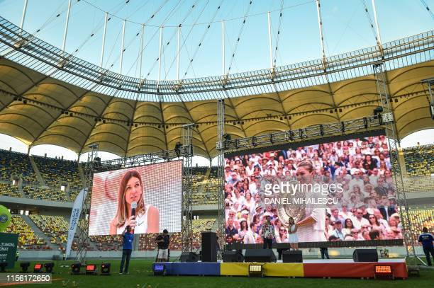 Romanian tennis player Simona Halep winner of Wimbledon WTA Tournament speaks at a special ceremony for her fans gathered at the National Arena...