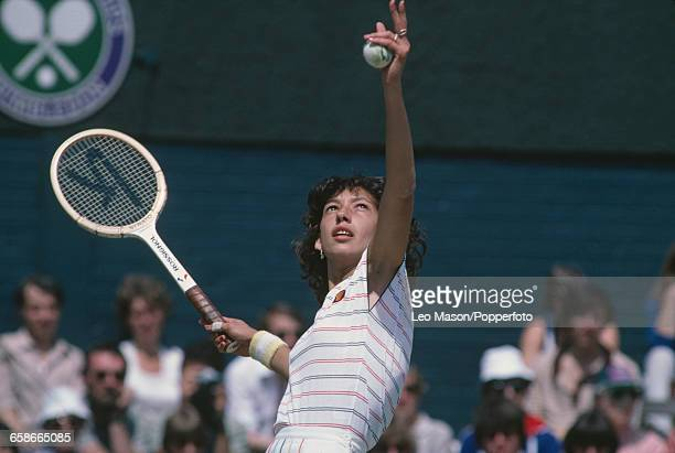 Romanian tennis player Virginia Ruzici pictured in action on centre court during competition to reach the quarterfinals of the Women's Singles...