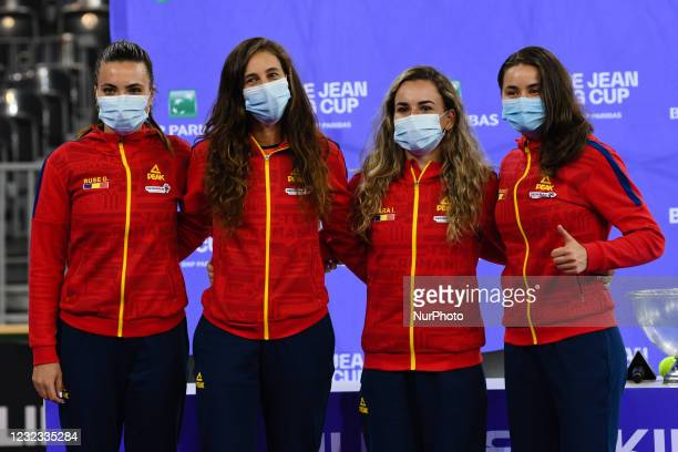 Romanian tennis team during the drawing lots for the Billie Jean King Cup Play-Offs match between Romania and Italy at Sala Polivalenta on April 15,...