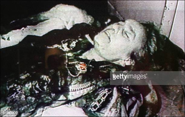 Romanian TV footage broadcast released 27 March 1989 in Bucharest of the body of Elena the wife of the ousted Romanian communist party's general...