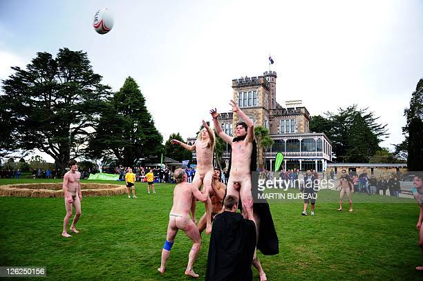 Romanian Vampires fights for the ball in a line out with the Nude Blacks on September 24 at Larnach castle in Dunedin during the New Zealand 2011...