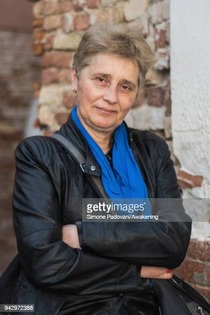 Romanian writer Liliana Nechita attends a photocall during Incroci di Civiltà International Literature Festival on April 7 2018 in Venice Italy