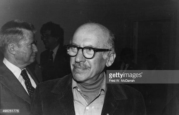 Romanianborn American artist Saul Steinberg attends an unspecified event New York New York mid to late twnetieth century
