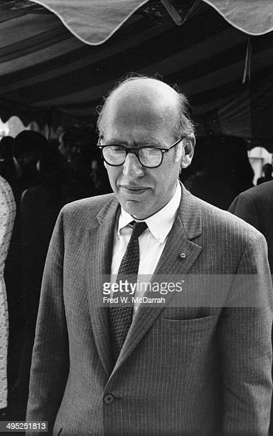 Romanianborn American artist Saul Steinberg in a pinstripe suit attends an unspecified event New York New York May 21 1969