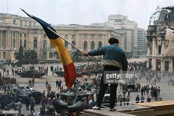 Romanians celebrate the end of Dictator Ceausescu's government