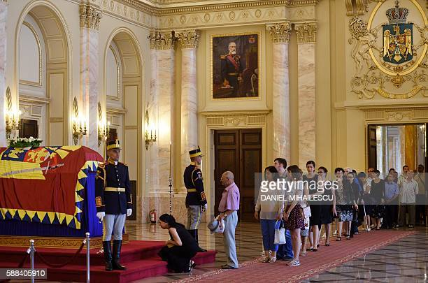 Romanians pay respect to the late Queen Anne of Romania at the Royal Palace now The Art Museum of Romania in Bucharest on August 11 2016 The body of...