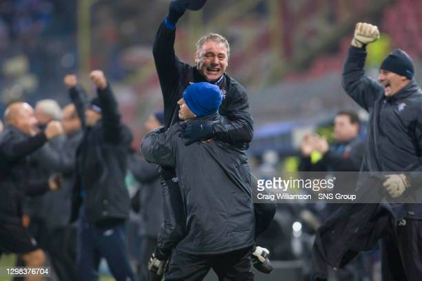 Rangers assistant manager Ally McCoist is ecstatic as his side take the lead