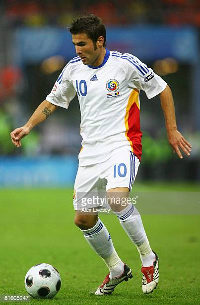 Romania's Adrian Mutu controls the ball during the UEFA EURO 2008 Group C match between Netherlands and Romania at Stade de Suisse Wankdorf on June...