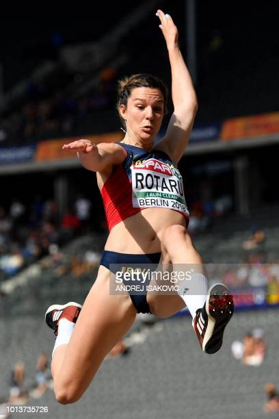 Romania's Alina Rotaru competes in the women's long jump qualifying event during the European Athletics Championships at the Olympic stadium in...