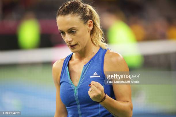 Romania's Ana Bogdan during the 2020 Fed Cup Qualifier between Romania and Russia on February 8, 2020 in Cluj-Napoca, Romania.