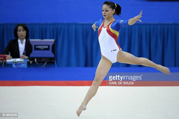 Romania's Anamaria Tamirjan performs in the women's floor event in the women's individual allaround final during the Artistic Gymnastics World...