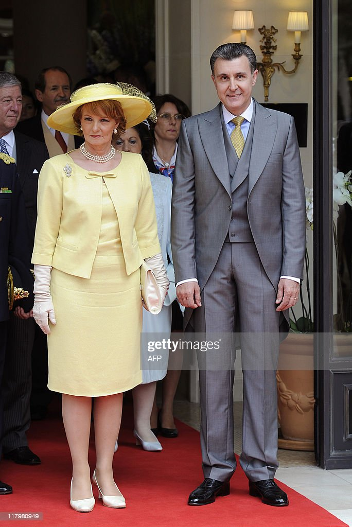 Romania's Crown Princess Margarita and her husband Radu Duda leave the Hermitage Hotel prior the religious wedding of Prince Albert II of Monaco and Princess Charlene on July 2, 2011 in Monaco.