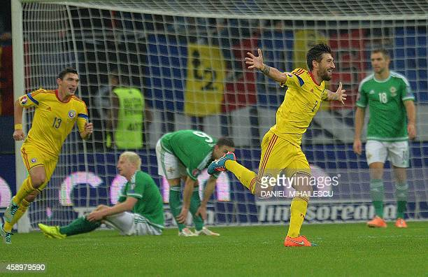 Romania's defender Paul Papp celebrates a goal against Northern Ireland during the UEFA 2016 European Championship qualifying round Group F football...