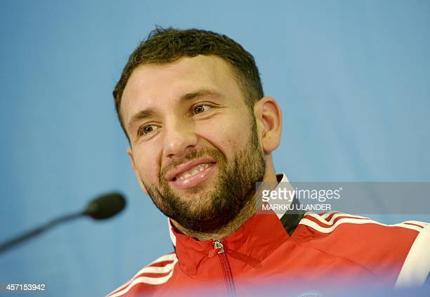Romania's defender Razvan Rat attends a press conference at the Helsinki Olympic Stadium on October 13 on the eve of the the UEFA Euro 2016...